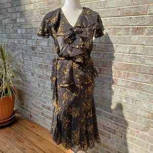 Lauren Ralph Lauren 2 Piece Wrap Dress S/P 6 EUC